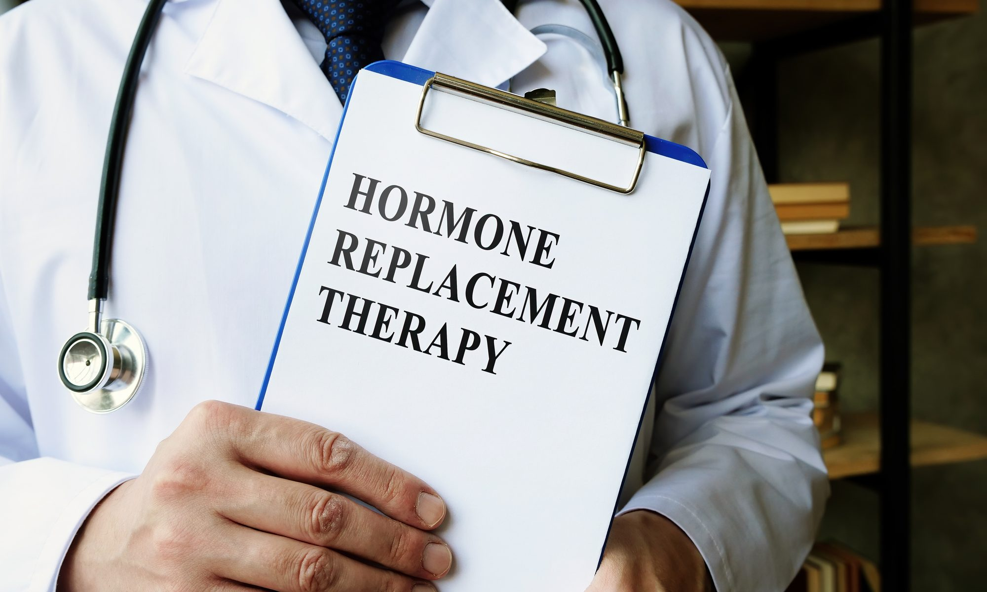 Doctor shows Hormone replacement therapy HRT information.